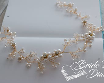 Wedding hair jewelry, pearls and crystals bridal wreath, bridal golden hair vine