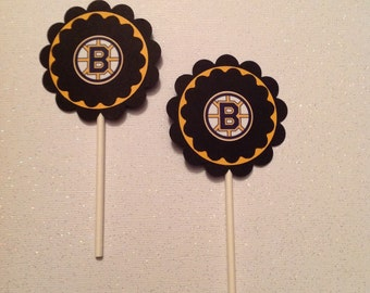 Boston Bruins Cupcake Toppers - Bruins Party Decor - Bruins Birthday Decor - Bruins Cupcake Toppers - Hockey Cupcake Toppers - Mini Toppers