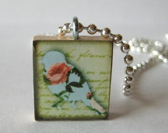 Pretty Bird Scrabble Tile Necklace