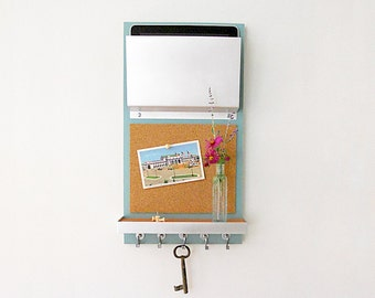 CORK MESSAGE CENTER: With iPad Mail Magazine Holder, Shelf and Hooks for Keys, Office Organization Storage Wall Mount Solutions