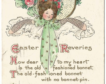 """Lady in Giant Easter Bonnet """"Easter Greeting"""" """"Easter Reveries..."""" Poem/verse Vintage Postcard Over 100 Years Old"""