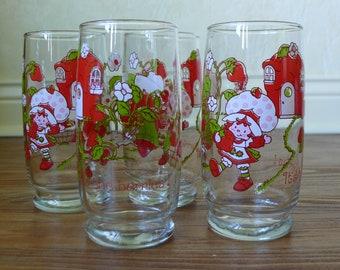 Strawberry Shortcake - Set of 4 Glasses - 1980