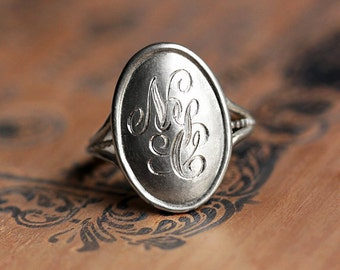 Sterling silver monogram ring, silver initial ring, personalized monogram ring, engraved name ring, personalized gift, nyc ring, custom