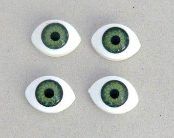 set 4 cabochon eye animal human anatomy doll eyes plush green 15x11mm face