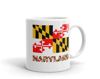 Maryland vlag w/Maryland tekst 11oz koffie mok