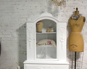 Painted Cottage Chic Shabby White Romantic French China Cabinet CC1052