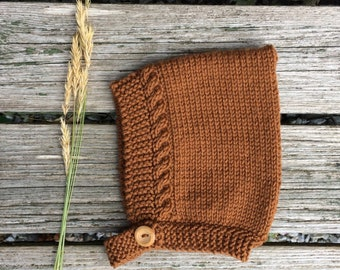 Merino Wool Cable Knit Pixie Hat - Toffee