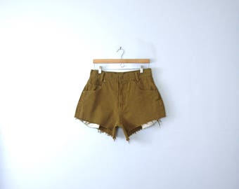 Vintage 80's Billionbay mustard brown high waisted shorts, cut off denim shorts, size 34 / 12