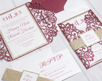 Wedding invitation kits etsy il diy invitation kit burgundy and gold glitter laser cut invites for wedding quince stopboris Gallery