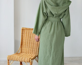Linen Bath Robe/ Long Oversize Hooded Gown/  Long Belted Night Gown / SPA Linen Robe/ Pool Gown Flax/Eco Gown