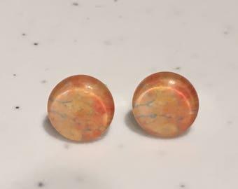 10MM Orange Galaxy Stud Earrings