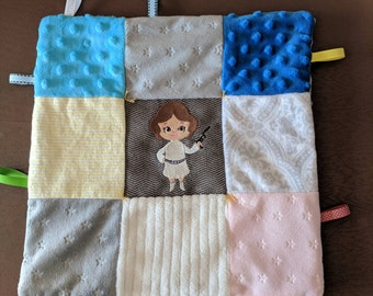 Princess Leia Embroidery Ribbon Baby Blanket Lovey Minky Flannel