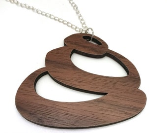 Walnut Wood Circle Necklace, Laser Cut Necklace, Silver Chain