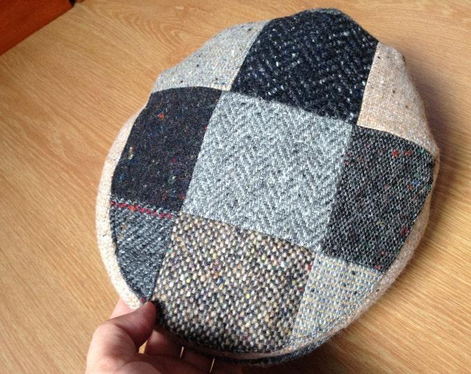 Authentic Irish Tweed Patchwork Flat Cap -Paddy Cap - Tweed Cap - Drivers Cap - Golf Cap - button fastening on peak