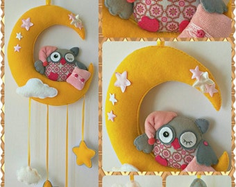 Sleepy Owl on the Moon Hanging Ornament, Baby Mobile, Child Room Hanging Decoration, Wall Decoration, Handmade Home and Holiday Decor