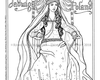 St. Jadwiga Coloring Page - Christian Catholic Art Confirmation Baptism Patron Saint Poland King