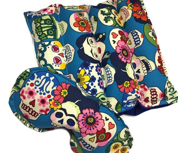 Rice Heat Pad LARGE with eye mask set, rice heating pack, eye pillow, eye mask, rice bag, flax seed,aromatherapy