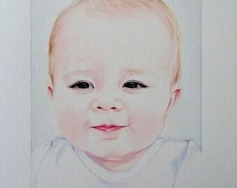Watercolor Portrait, Custom Portrait Baby, Hand Painted Personalized Portrait, Commissioned Portrait, Baby Painting, Bespoke Portrait