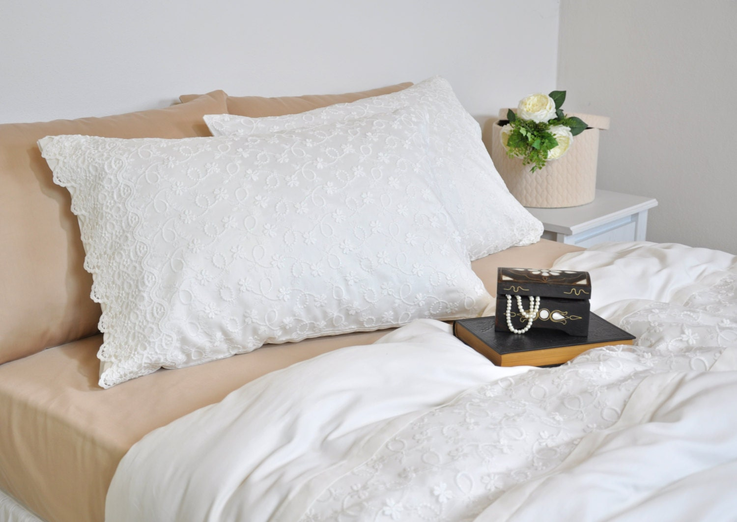 Ivory Shabby Chic Bedding: Ivory Lace Duvet Cover Set In Full Queen King Size Bridal