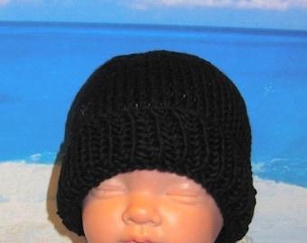 HALF PRICE SALE Instant Digital File pdf download knitting pattern - Baby Black Beanie pdf knitting pattern from madmonkeyknits