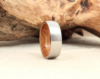 Wooden Ring Lined with Whiskey Barrel White Oak Barrel - Cobalt