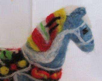 Blue Swedish Dala Horse  -  Needle Felted, large size