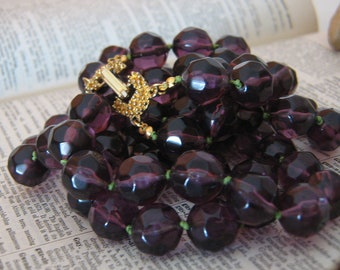 Vintage Plastic Necklace -  Handknotted -  2 Strand Necklace -  Transparent Purple and Chartreuse Cord with Gold Tone Vintage Clasp