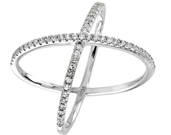 925 Sterling Silver Criss Cross Ring, CZ, Cubic Zirconia, Silver Crisscross X Ring, Minimalist Criss Cross Women's Ring, Gift For Her