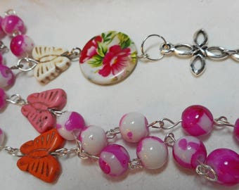 Pink and White with Butterflies Christian Anglican Prayer Beads. (I 669)