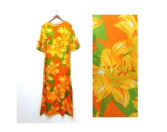 1960s Hawaiian Maxi Dress Large