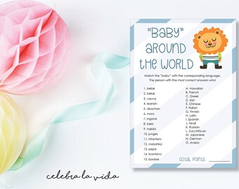 Instant Download Baby Around the World Baby Shower Game. Printable Baby Boy Shower Game with Answers. Blue