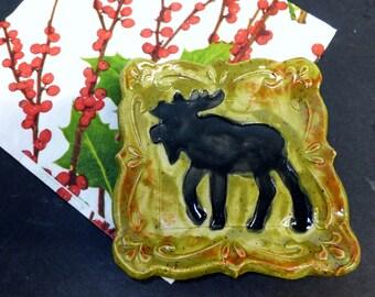Moose Spoon Rest, Ring Holder, Ceramic Tapas Plate