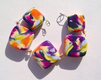 Brushstrokes Artisan Polymer Clay Bead Set with Focal and 4 Beads