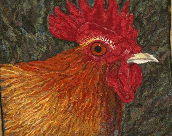 Rooster complete rug hooking kit.  Includes wool, and linen and yarn