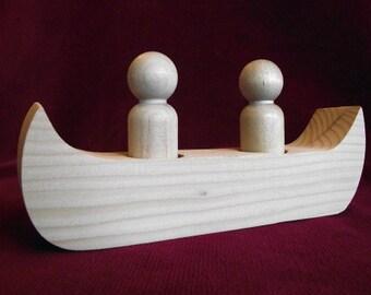 Canoe with 2 Peg Dolls, Unfinished Pine Canoe and Hardwood Peg Dolls