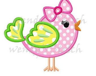 Cute girl bird applique machine embroidery design