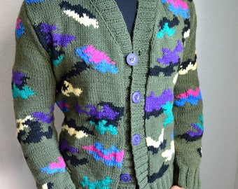 Hand knitted camouflage men's cardigan