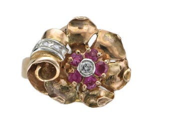 Ladies 14 Karat Yellow and Rose Gold Ruby and Diamond Art Deco Ring