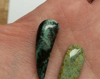 Snowville Variscite 2 Cabochons handmade natural silversmiths, collectors Turquoise