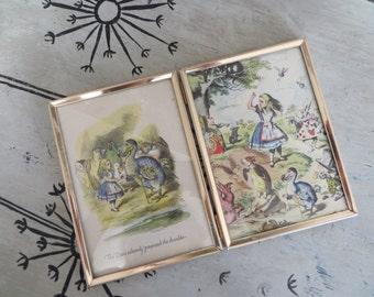 Gold Double Frame 5x7 Mid Century Modern Framed Alice in Wonderland Prints Shabby Gold Frames Mad Hatter Mad Tea Party  Modern Decor Bunny