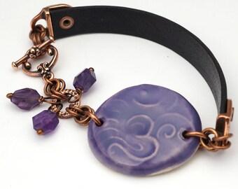 Purple Om bracelet, ceramic leather copper, zen jewelry, amethyst beads, 7 1/2 inches long