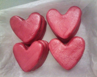 Marzipan valentine hearts, homemade, 12 pieces, 300g