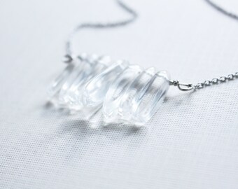 Rounded Quartz Crystal Snow Queen Necklace