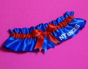 New York Rangers Wedding Garter with NY Rangers word   Handmade   Keepsake   NY Satin rr2