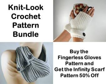 Knit Look Crochet Pattern Bundle - Knit Look Fingerless Gloves Crochet Pattern-Knit Look Infinity Scarf Crochet Pattern-Instant Download PDF