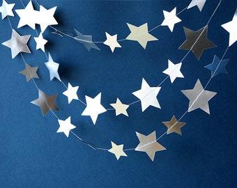 Silver star garland, Star papèr garland, baby shower, Metallic garland, Silver garland, Paper garland