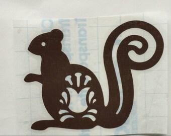 Squirrel Decal, Folk Art Friends Sticker, Woodland Critter, Forest Decals, Nature Decor