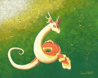 STUDIO SALE - Fantasy Art Print- Sazonia - 8.5x11 or 5x7 Open Edition Print - Fantasy Dragon Art