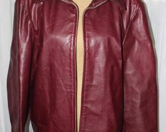 Vintage Banana Republic Zip Up Lined Oxblood Leather Jacket