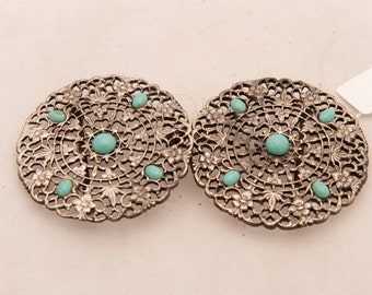 Vintage cloak clasp turquoise silver on sale was 45